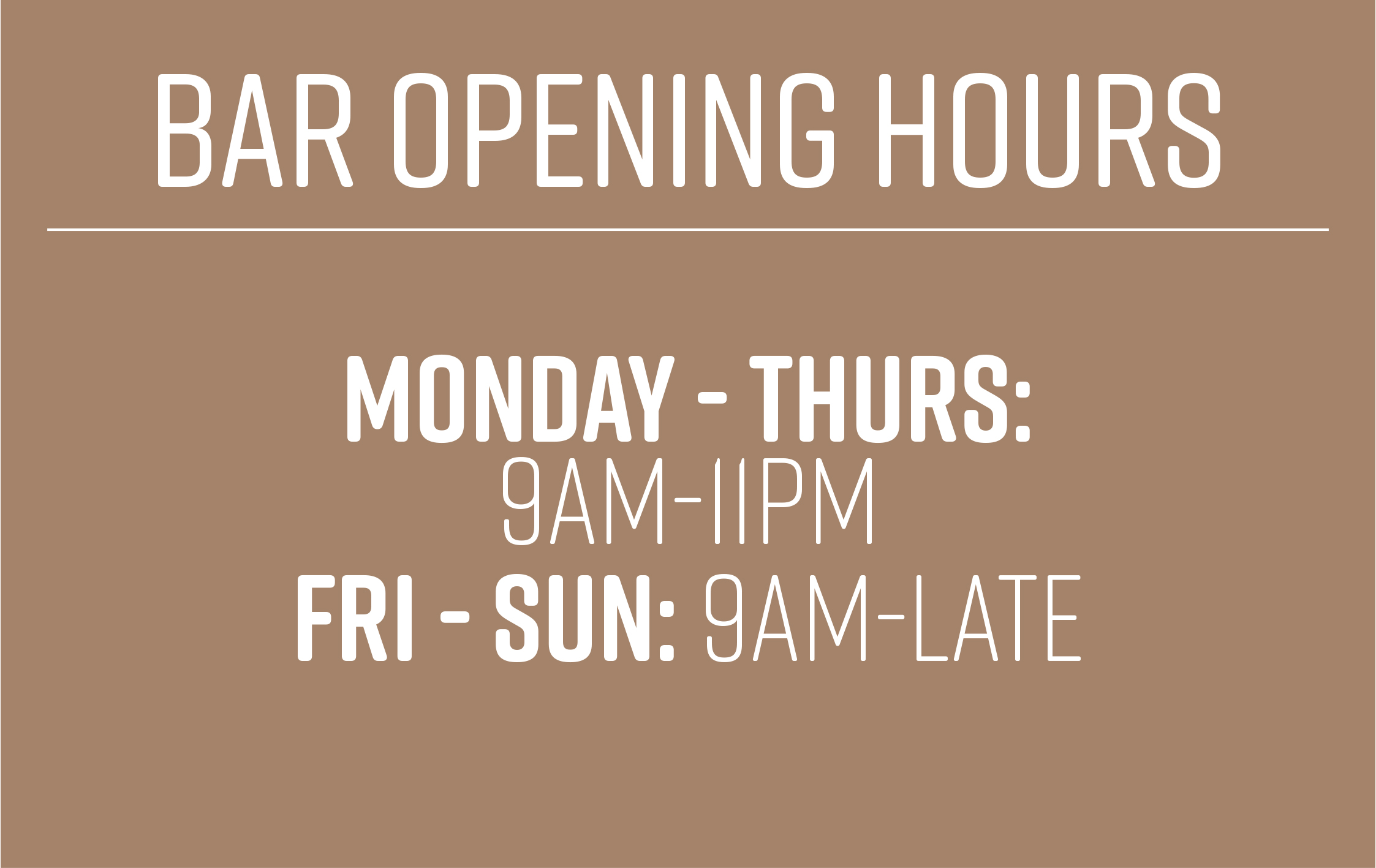 Opening Hours for the Bar