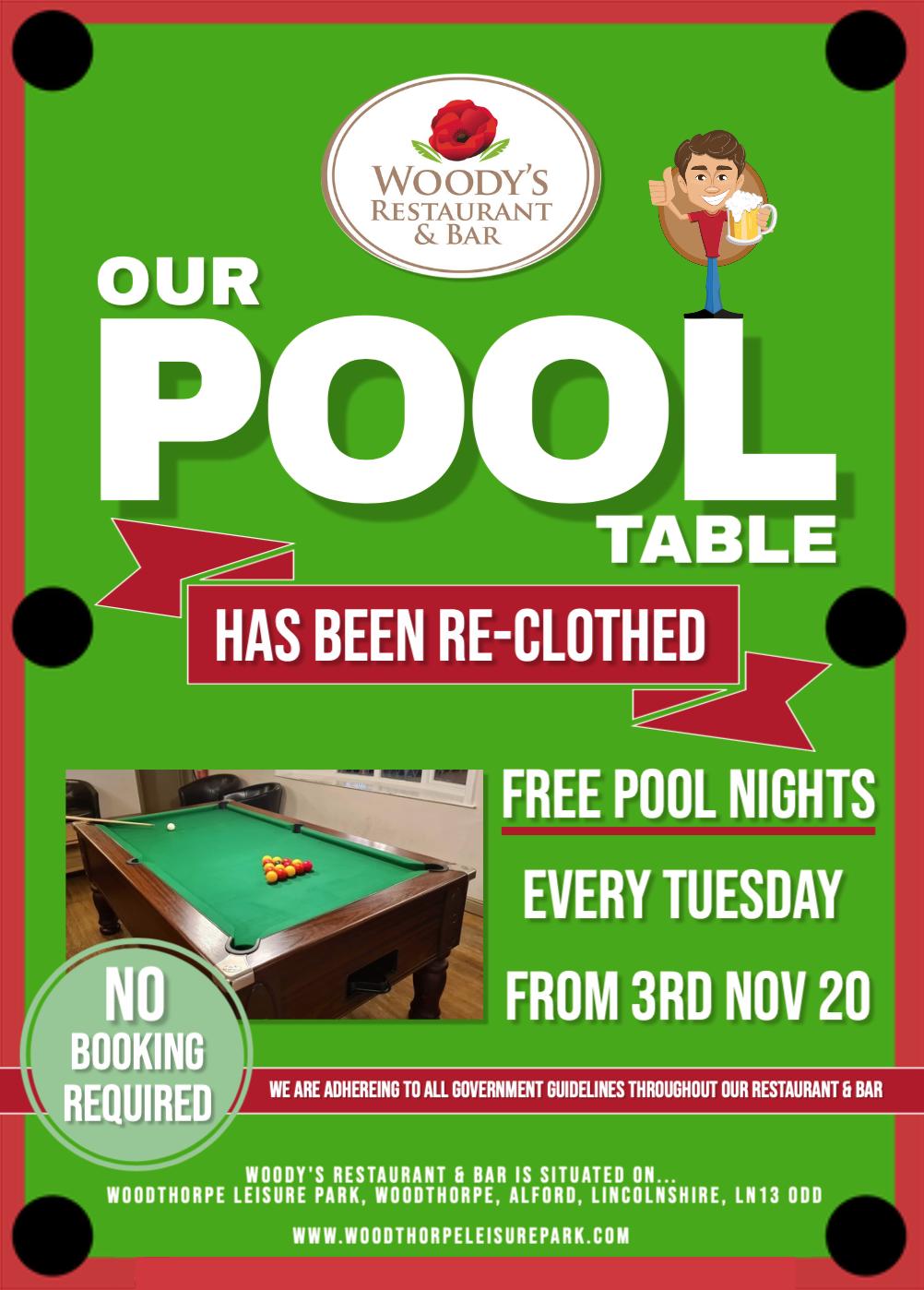 pool table free on Tuesdays