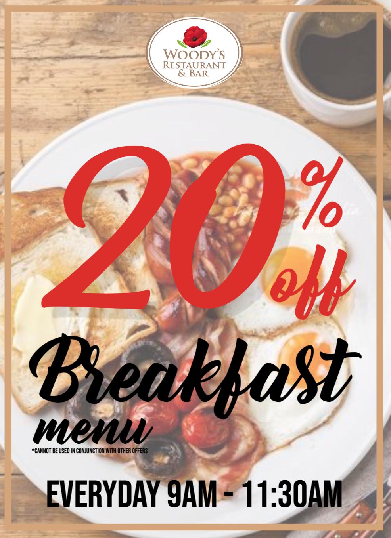 woodys breakfast menu, holiday park lincolnshire