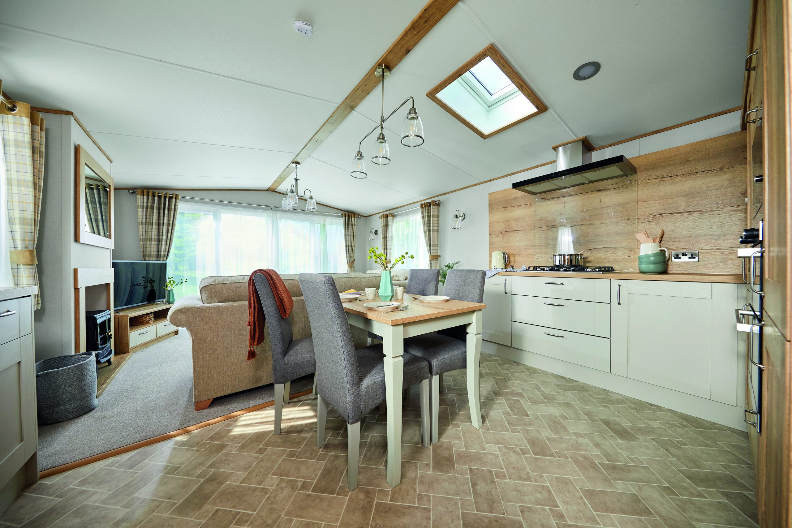 dining area inside a woodthorpe wooden lodge