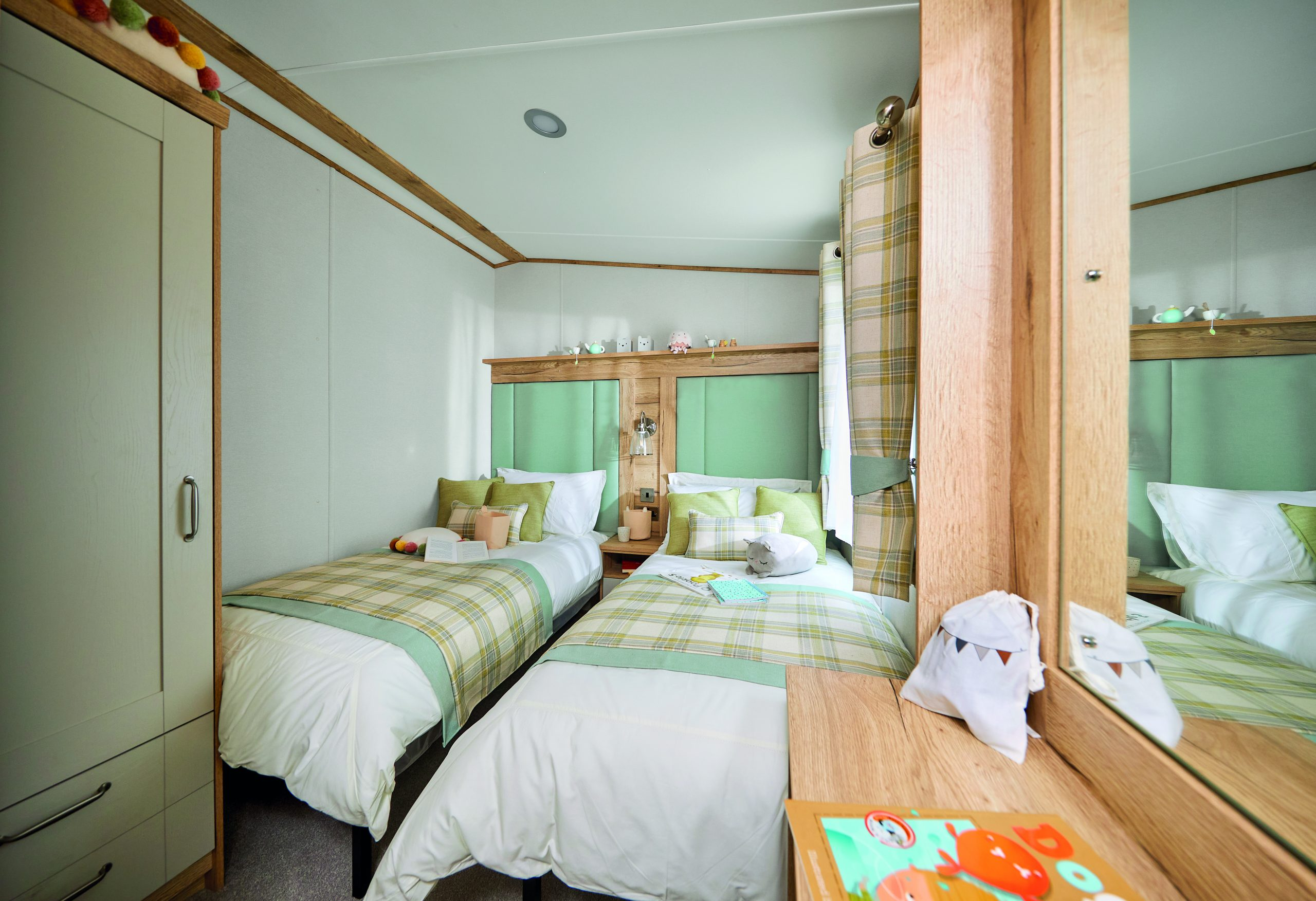 cosy bedroom decorated with green colours