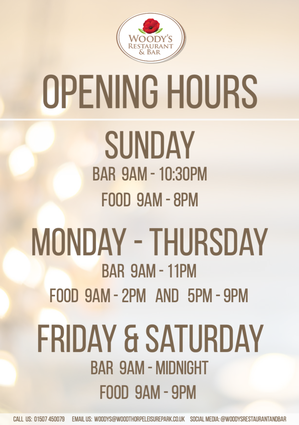 Woodys Restaurant and Bar opening times