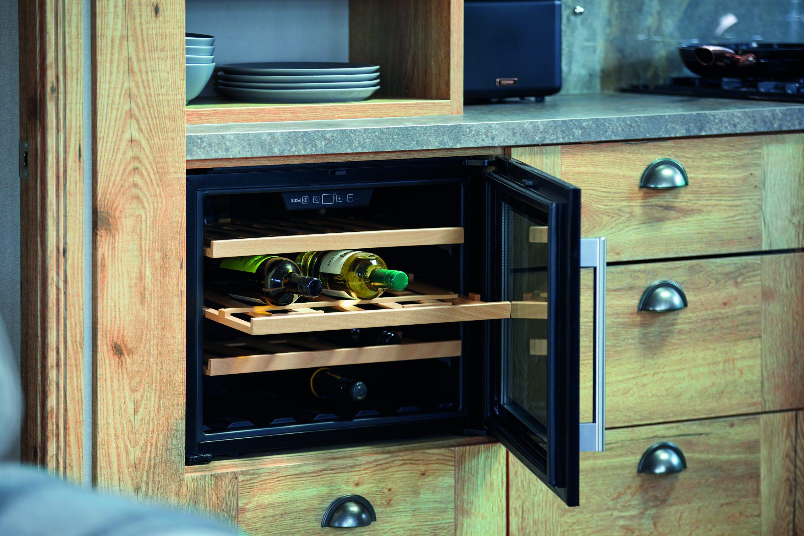 wine fridge built into counter
